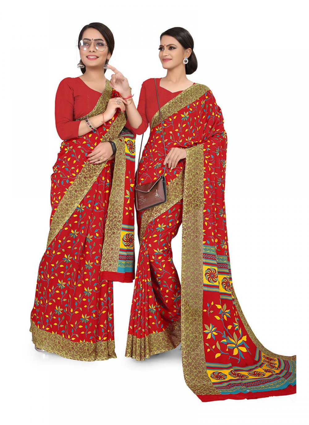 Faux Georgette Abstract Print Printed Saree in Multi Colour