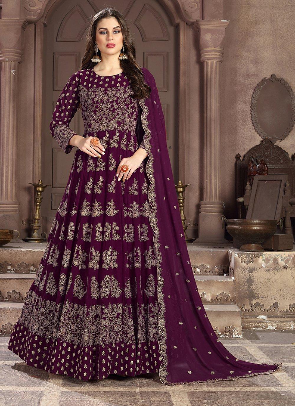 Faux Georgette Anarkali Salwar Suit in Wine