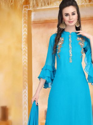 Faux Georgette Aqua Blue Embroidered Palazzo Salwar Kameez