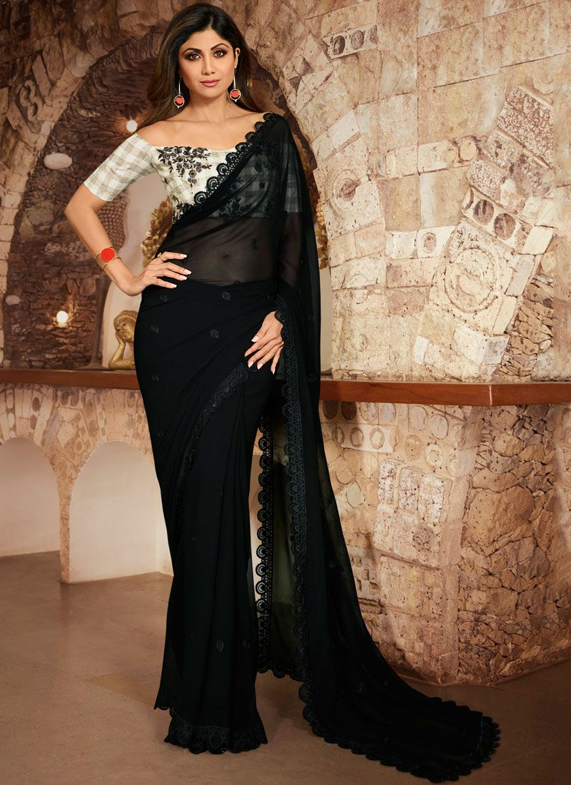 Faux Georgette Black Silk Saree