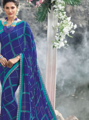 Faux Georgette Blue Abstract Print Printed Saree