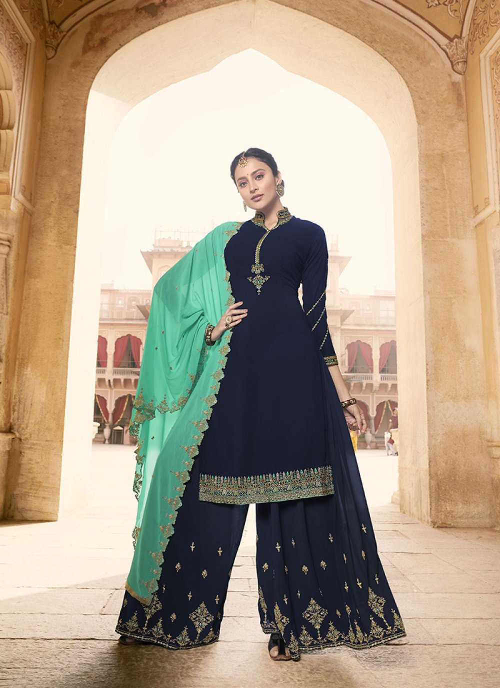 Faux Georgette Blue Designer Pakistani Suit