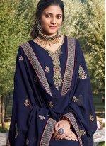 Faux Georgette Blue Resham Designer Salwar Suit