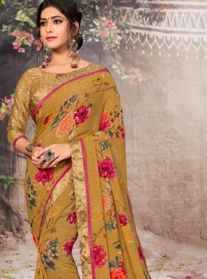 Faux Georgette Border Brown Casual Saree