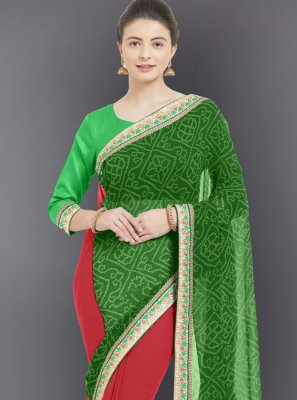 Faux Georgette Casual Saree in Green