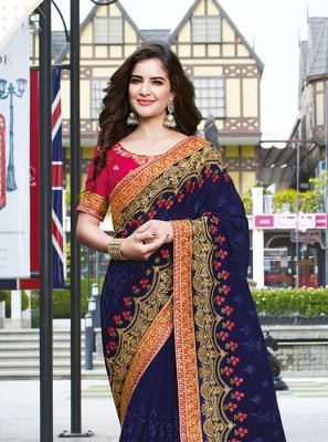 Faux Georgette Ceremonial Designer Traditional Saree