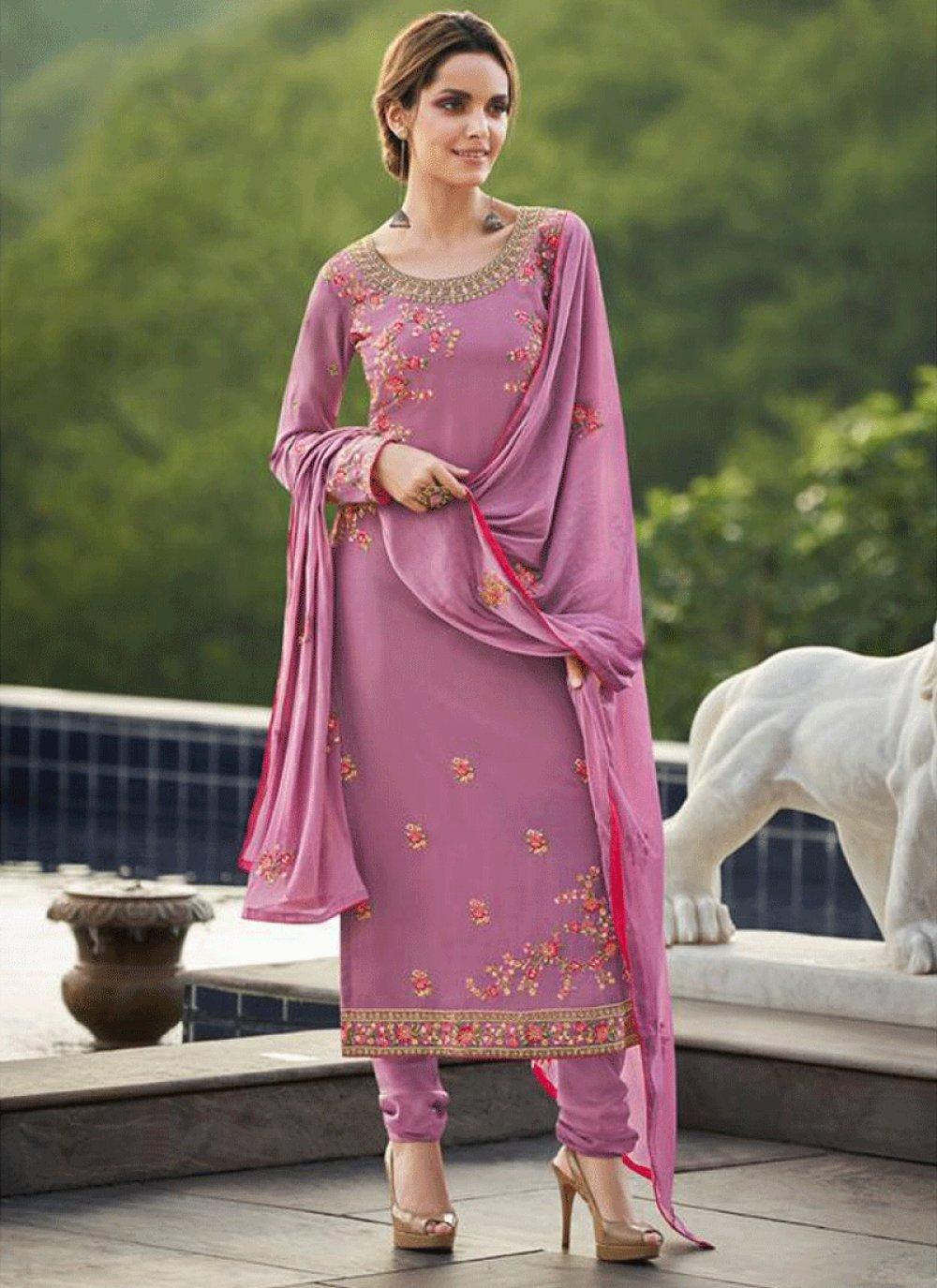 Faux Georgette Churidar Salwar Kameez in Purple