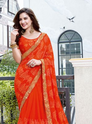 Faux Georgette Classic Designer Saree in Orange