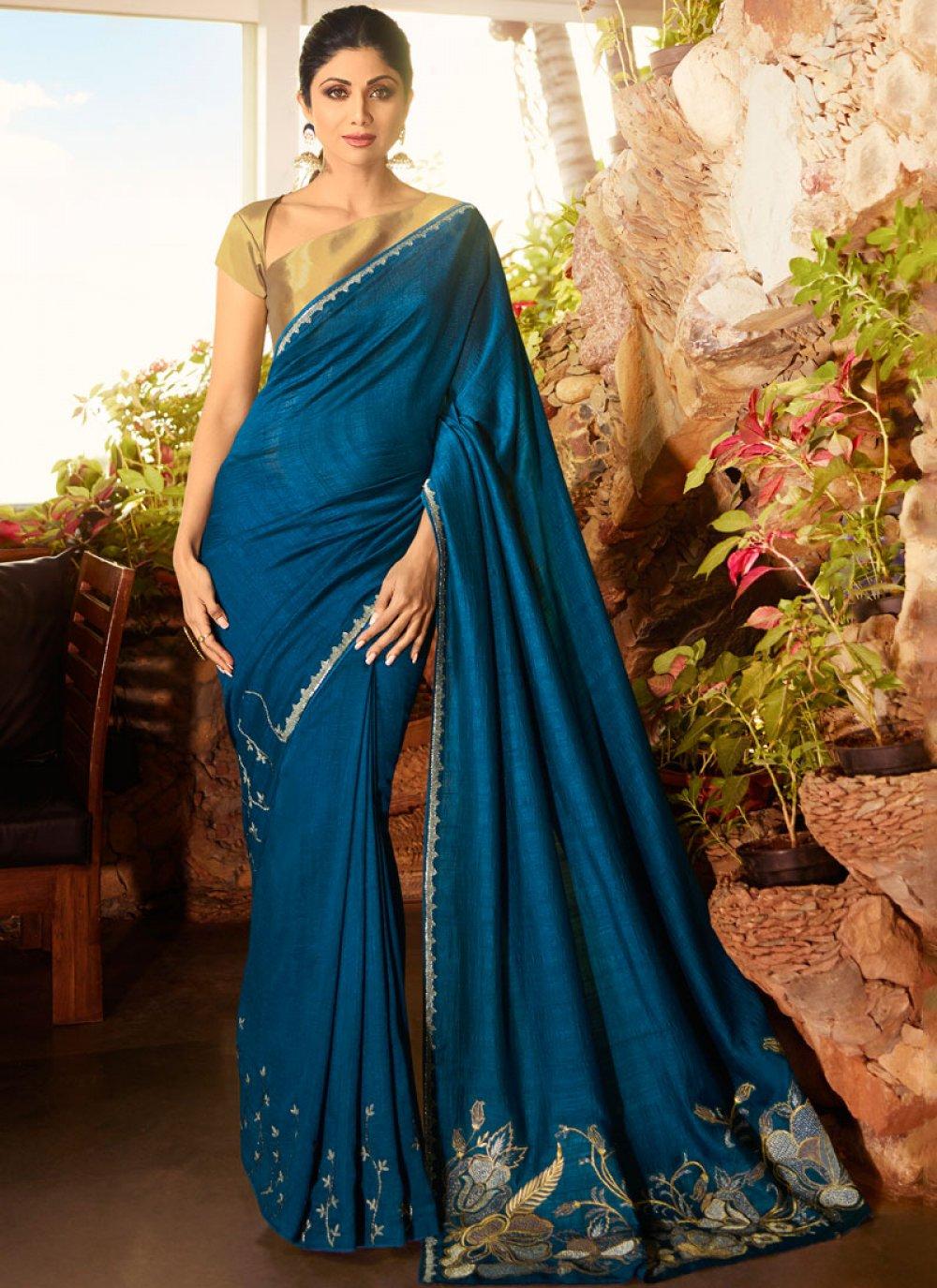 Faux Georgette Classic Saree in Blue