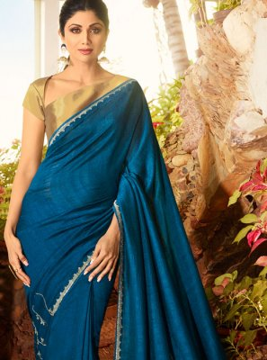Faux Georgette Classic Saree in Blue