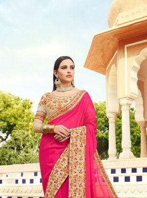 Faux Georgette Classic Saree in Hot Pink