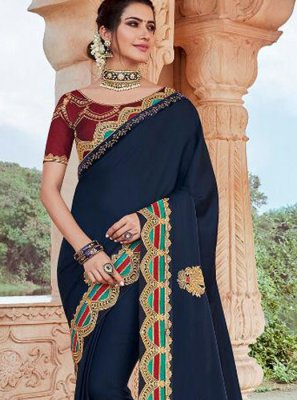Faux Georgette Classic Saree in Navy Blue
