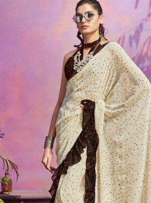 Faux Georgette Cream Casual Saree
