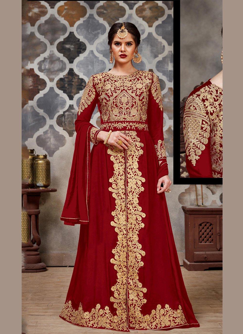 Faux Georgette Designer Salwar Kameez in Maroon