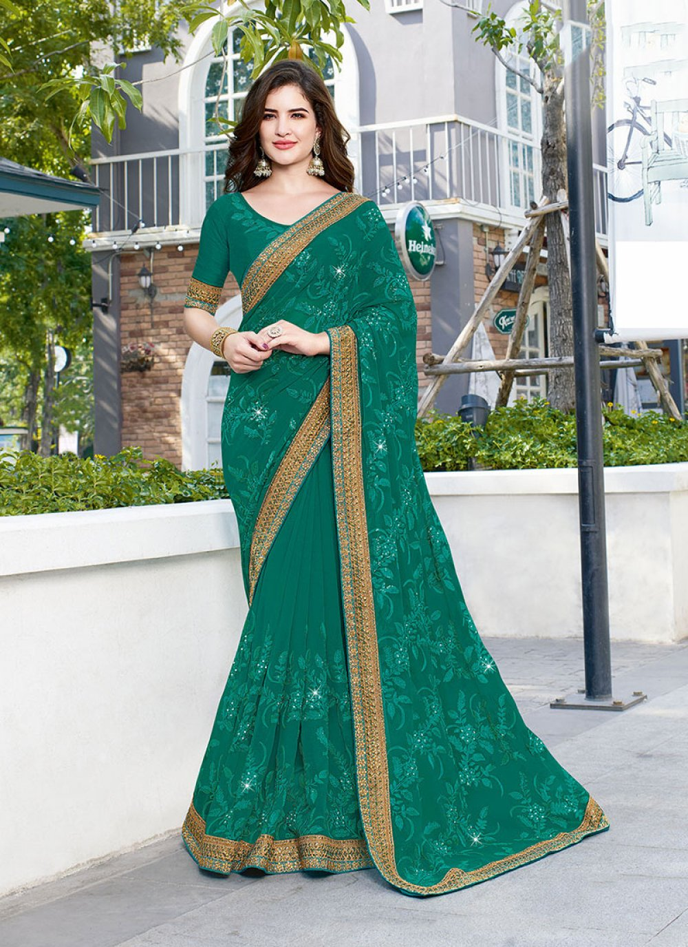 Faux Georgette Designer Traditional Saree