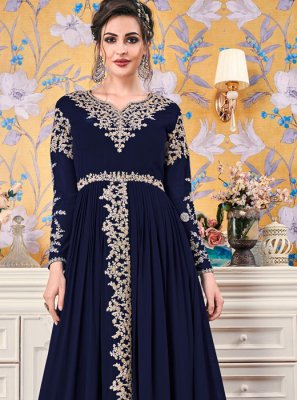 Faux Georgette Diamond Navy Blue Floor Length Gown