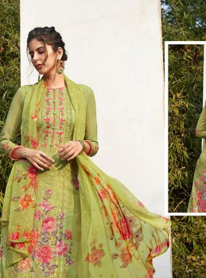 Faux Georgette Digital Print Green Pant Style Suit