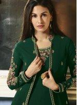Faux Georgette Embroidered Anarkali Salwar Kameez in Green