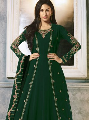 Faux Georgette Embroidered Anarkali Salwar Kameez in Green