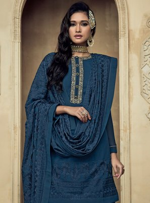 Faux Georgette Embroidered Blue Designer Palazzo Salwar Suit