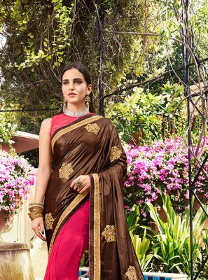Faux Georgette Embroidered Brown and Magenta Classic Saree