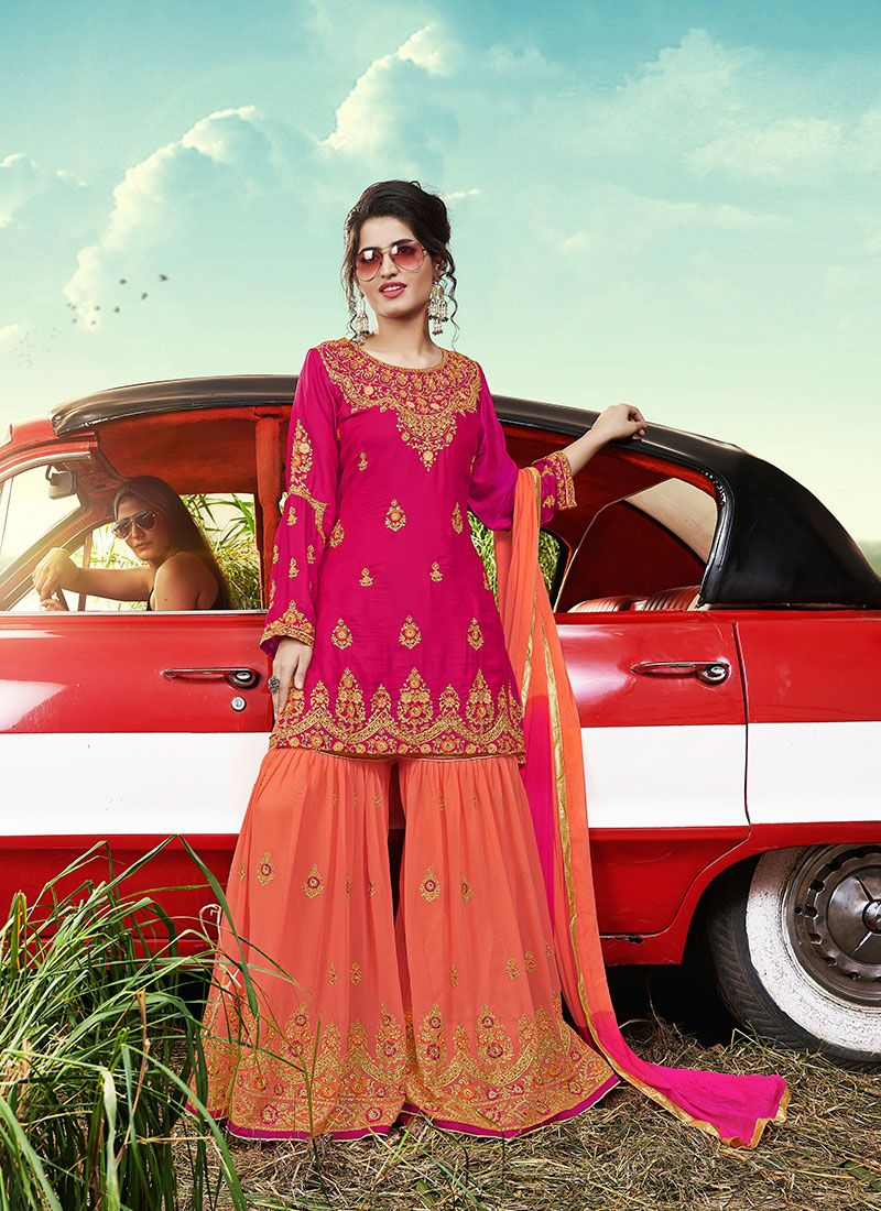Faux Georgette Embroidered Designer Palazzo Suit in Pink