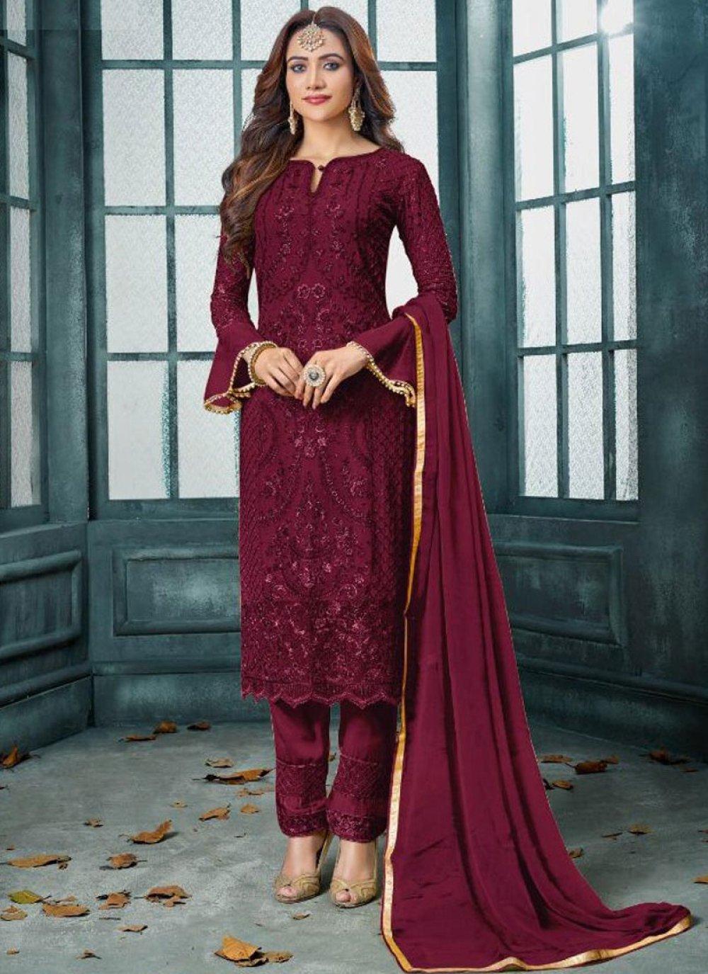 Faux Georgette Embroidered Designer Salwar Kameez in Maroon
