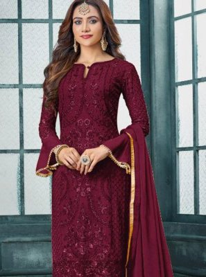 Faux Georgette Embroidered Designer Salwar Kameez in Maroon