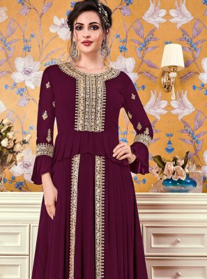 Faux Georgette Embroidered Floor Length Gown in Magenta