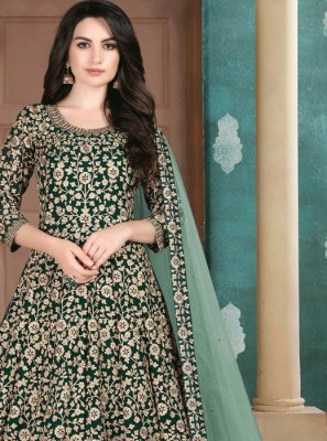 Faux Georgette Embroidered Green Designer Salwar Suit