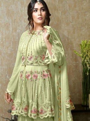 Faux Georgette Embroidered Green Salwar Kameez