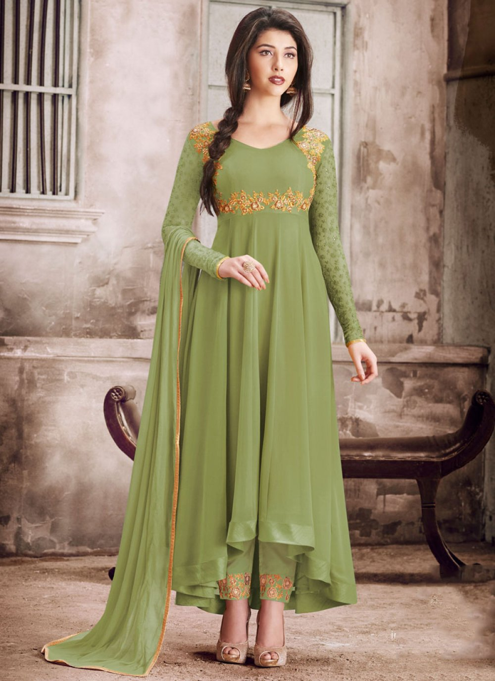 Faux Georgette Embroidered Green Salwar Suit