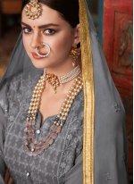 Faux Georgette Embroidered Grey Salwar Kameez