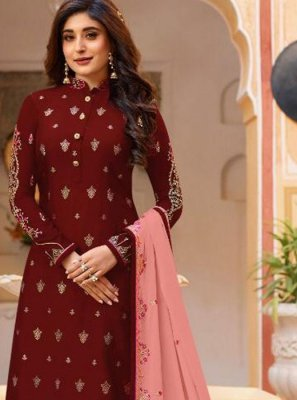 Faux Georgette Embroidered Maroon Churidar Salwar Kameez