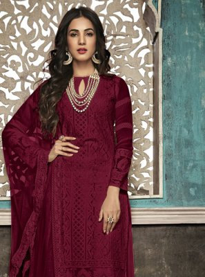 Faux Georgette Embroidered Maroon Salwar Suit
