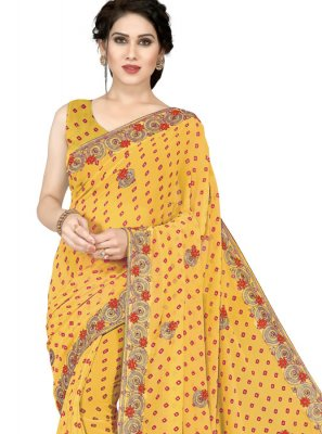 Faux Georgette Embroidered Mustard Casual Saree