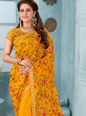 Faux Georgette Embroidered Mustard Classic Designer Saree