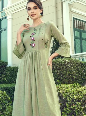Faux Georgette Embroidered Palazzo Salwar Kameez in Sea Green