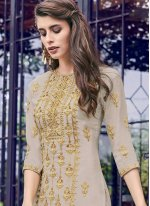 Faux Georgette Embroidered Palazzo Suit in Grey