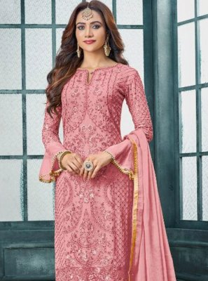 Faux Georgette Embroidered Pink Pant Style Suit