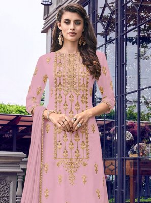 Faux Georgette Embroidered Pink Salwar Suit