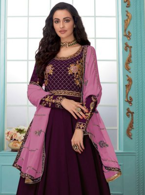 Faux Georgette Embroidered Purple Trendy Anarkali Salwar Kameez