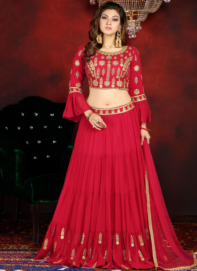 Faux Georgette Embroidered Readymade Lehenga Choli in Red