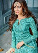 Faux Georgette Embroidered Salwar Kameez
