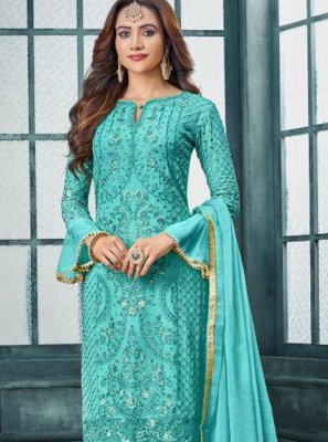 Faux Georgette Embroidered Salwar Kameez