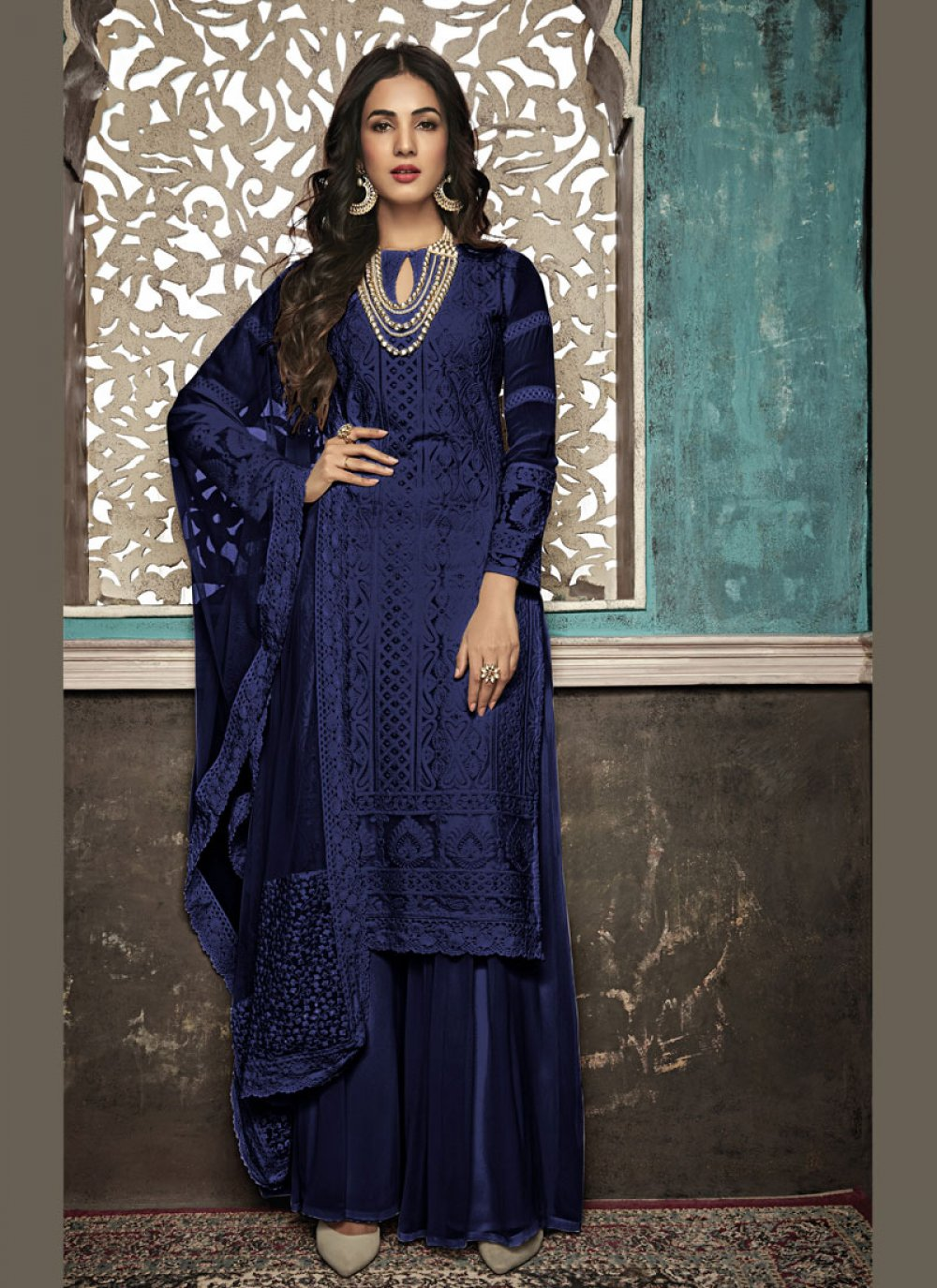 Faux Georgette Embroidered Salwar Suit in Blue