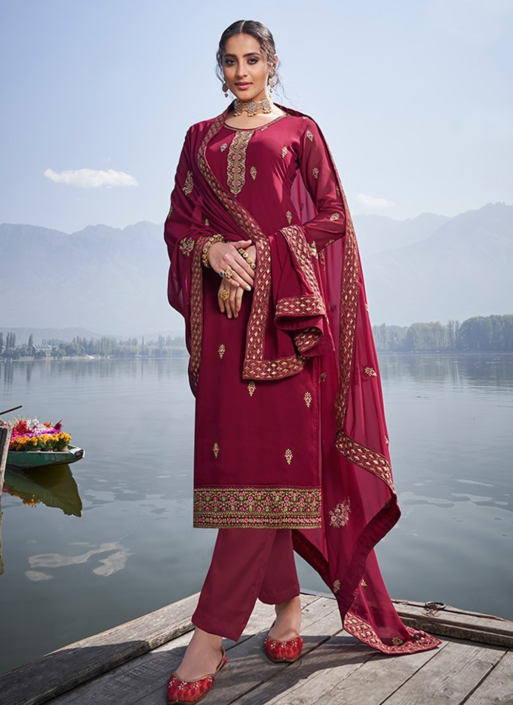 Faux Georgette Embroidered Trendy Salwar Suit in Maroon