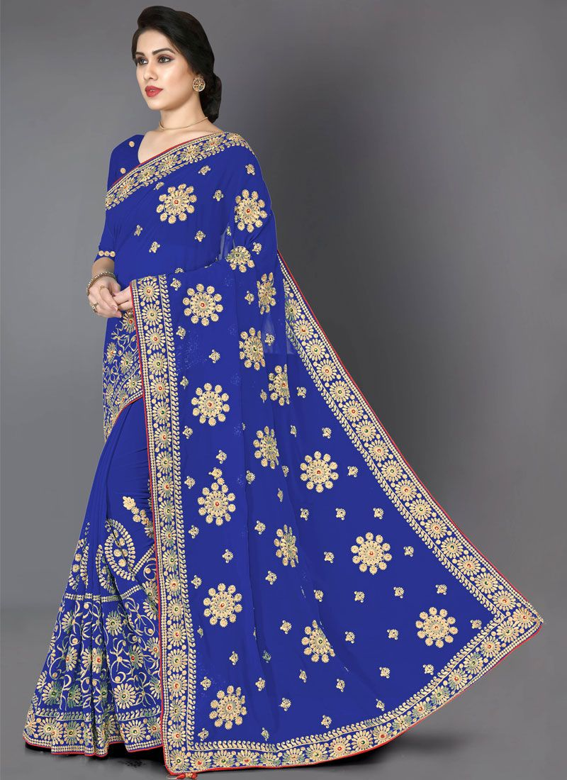 Faux Georgette Embroidered Trendy Saree in Blue