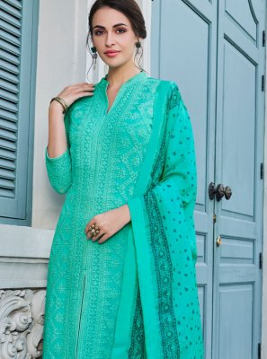 Faux Georgette Embroidered Turquoise Palazzo Suit