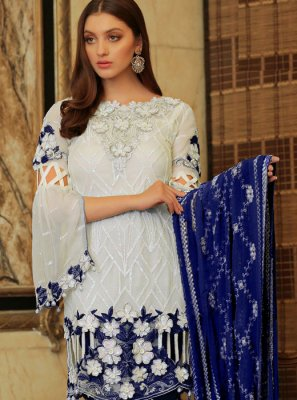 Faux Georgette Embroidered White Salwar Suit